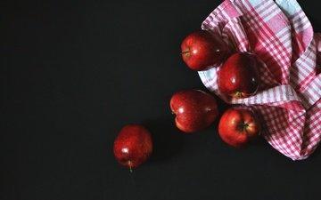 еда, фрукты, яблоки, краcный, яблок, скатерть, fruits, здоровое