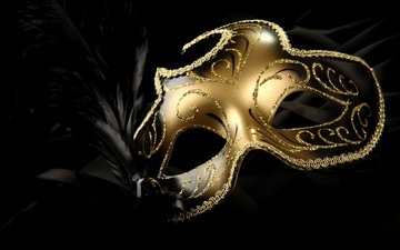 маска, перья, яркие, золотые, карнавал, перышки, яркая, золотая, carnival mask