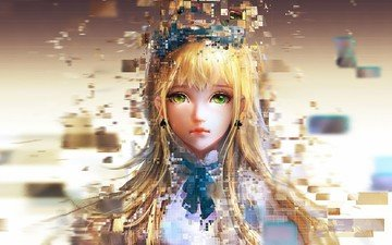 girl, alice, pixels, alice in pixel land