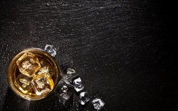 лес, лёд, стакан, дерева, алкогольный напиток, cтекло