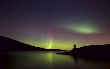 небо, ночь, озеро, природа, северное сияние, силуэты