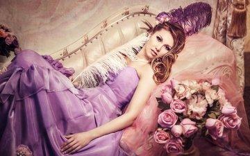 цветы, девушка, платье, розы, перья, наряд, ваза, украшение, колье, шатенка, вуаль, кушетка, diana lipkina, диана липкина