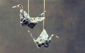 птицы, оригами, подвешена, шпагат, пернатые