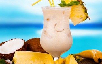 пляж, лето, фрукты, коктейль, плоды, тропический, кокос, ананас, тропическая, летнее, молочный коктейль