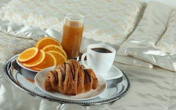 кофе, апельсин, завтрак, постель, поднос, круассан, сок
