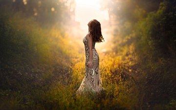 закат, девушка, платье, лето, волосы, в платье, летнее