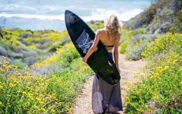 girl, path, surfing