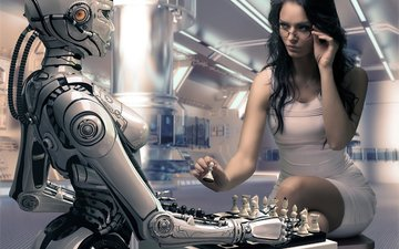 girl, chess, robot, rendering, the game