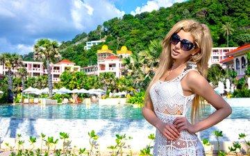 девушка, лето, курорт