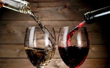 вино, белое, бокалы, бутылки, красное