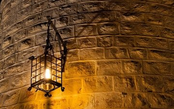 wall, lantern, brick, light bulb, metal, curved, wall lamp, light