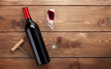 бокал, пол, вино, бутылка, красное, штопор