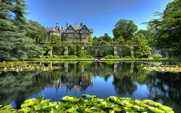 деревья, пейзаж, парк, дом, пруд, great britain, bodnant gardens