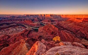 река, горы, пейзаж, каньон, сша, ущелье, юта, зарево, dead horse point state park