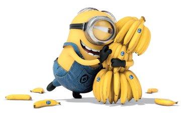 мультфильм, радость, белый фон, много, счастье, желтые, бананы, миньон, миньоны