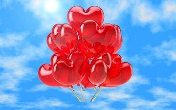 любовь, воздушные шары, сердечки, неба, мелодрама, влюбленная, аэростаты, довольная, сердечка
