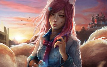 girl, fox, ears, shirt, ahri, nine-tailed fox, league of legends