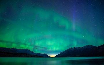 night, mountains, landscape, stars, northern lights, canada, albert, aurora, abraham