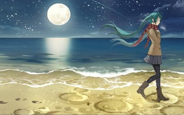 art, night, shore, girl, anime, kari kenji, hatsune miku