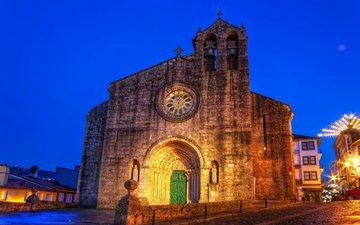 небо, ночь, огни, дома, церковь, испания