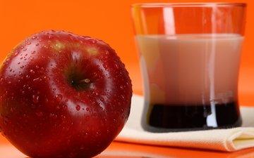 капли, яблоко, стакан, красное, спелое