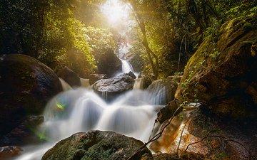 камни, лес, водопад, бразилия, бразилии, валуны, bridal veil fall, водопад брайдлвейл, водопад фата невесты, бониту, пернамбуку