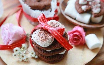 шоколад, печенье, зефир, микросхема, в шоколаде, маршмэллоу
