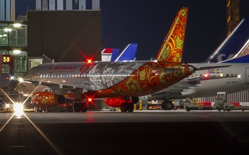 night, lights, the plane, airport, aeroflot, coloring