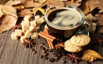 листья, корица, осень, кофе, чашка, печенье, кубок, осен, шарф, горячая, листья