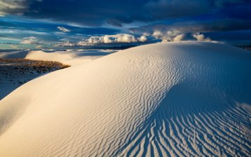 небо, песок, белый, нью-мексико, дюны, white sands national monument, blue dunes