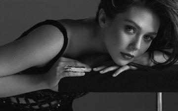 фото, взгляд, чёрно-белое, модель, актриса, макияж, журнал, прическа, элизабет олсен, flaunt
