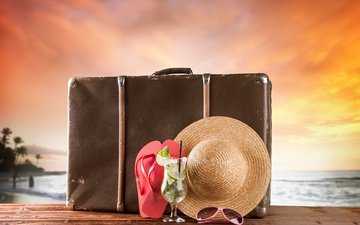 закат, пляж, путешествия, шляпа, чемодан, каникулы, летнее