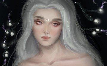 art, girl, fantasy, hair, white, saphalia