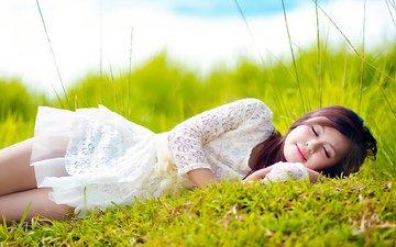 девушка, платье, спит