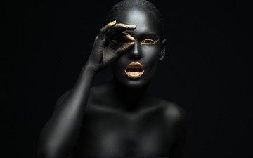 черный, модель, макияж, золотой, блака, золотая, грим, модел