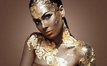 девушка, портрет, взгляд, модель, волосы, лицо, золото, золотая, модел