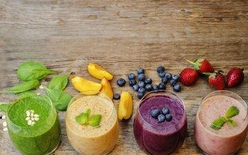 фрукты, ягоды, лесные ягоды, коктейль, плоды, черника, банан, парное, смузи, смуззи