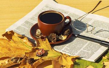 листья, осень, кофе, чашка, шарф