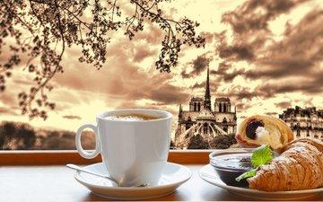кофе, париж, джем, завтрак, кубок, круасан, круассан, франци, кафедральный, нотр-дам