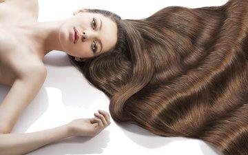 девушка, поза, пол, волосы, волос