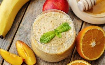 фрукты, ягоды, лесные ягоды, апельсин, коктейль, плоды, банан, парное, смузи, смуззи