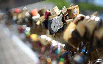 макро, фон, любовь, замки, love locks