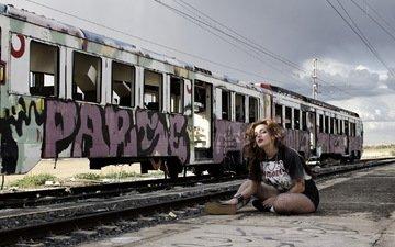 девушка, поза, поезд, laura piñero