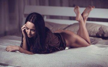 girl, brunette, ass, model, bed, sweater, angelina, marica