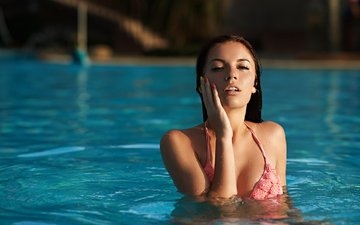 girl, pool, photographer, lips, swimsuit, sexy, body, face, eugene nadein