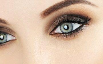 глаза, синие, макияж, женщина, голубая, взор, грим