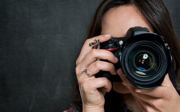 девушка, улыбка, камера, фотография, смайл, аппарат, photograph