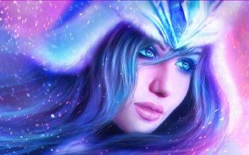 art, girl, look, hair, face, sivir, battle mistress, league of legends