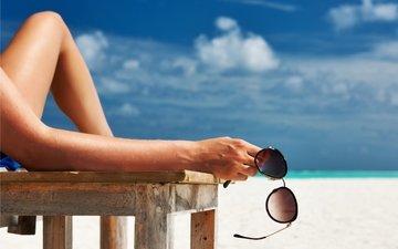 солнце, море, пляж, лето, отдых, женщина, вс, солнечные очки, каникулы, летнее, sunbath
