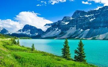 деревья, пейзаж, озеро.горы, национальный парк джаспер
